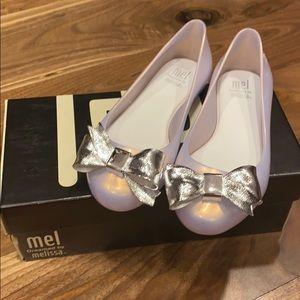 Mini Melissa space love flats pearl white